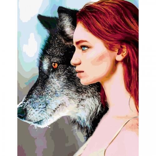 """""""Девушка и волк"""", холст на картоне с контуром, 30х40, хлопок, акрил, ROSA START"""