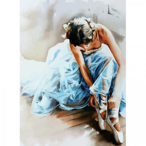 """""""Голубое платье"""", холст на картоне с контуром, 30х40, хлопок, акрил, ROSA START"""