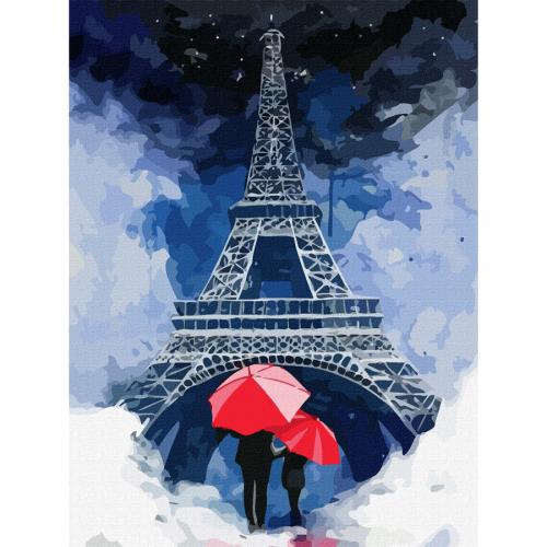 """Міста, """"Париж 4"""", полотно на картоні з контуром, 30х40, бавовна, акрил, ROSA START"""