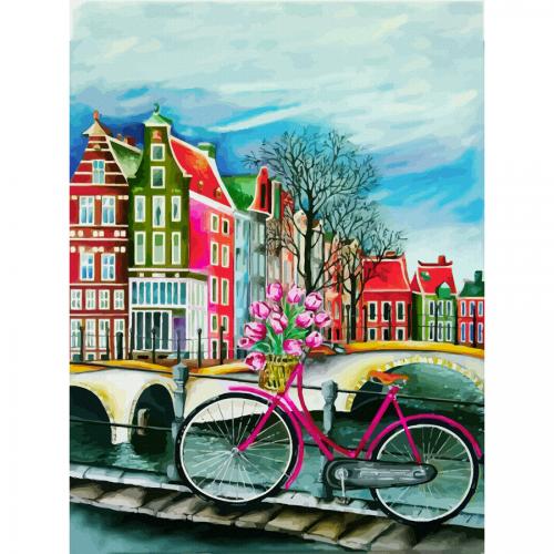 """Міста, """"Амстердам 3"""", полотно на картоні з контуром, 30х40, бавовна, акрил, ROSA START"""