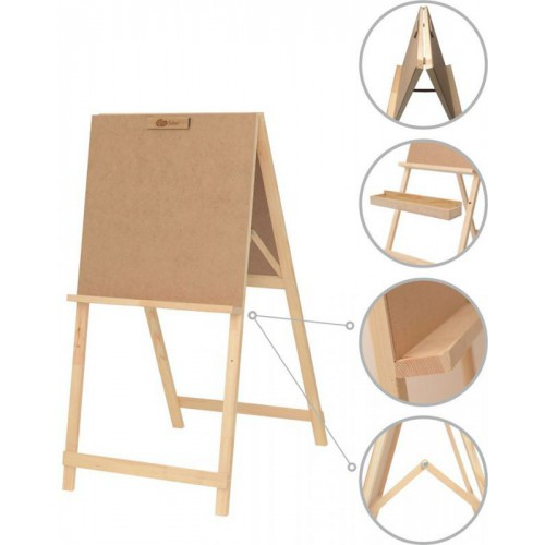 Junior'r studio easel, double-feced pine 60х85х115cm ROSA Studio