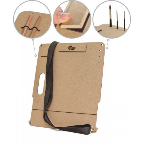 Sketch-Board with magnetic clip with strap, MDF