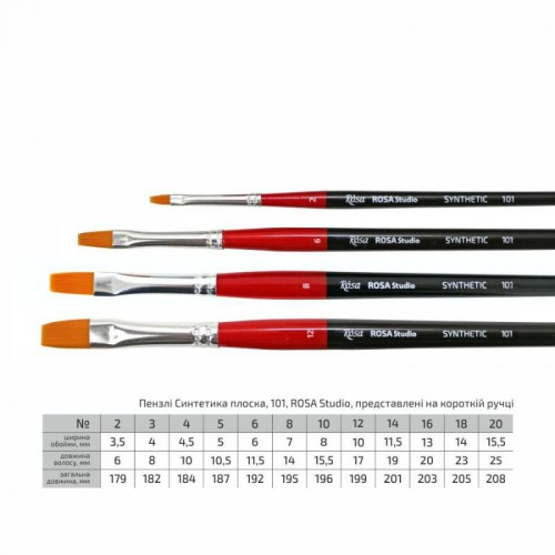 Synthetic Flat Brush, 101, Short Handle, ROSA Studio