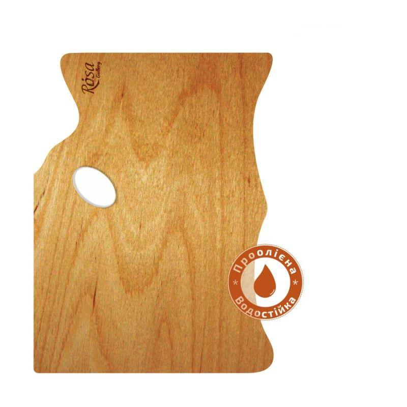 Палітра дерев'яна, прямокутна МОДЕРН, ергономічна, промаслена, ROSA Gallery